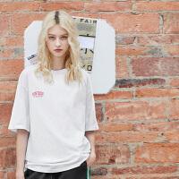 PASS女装2018新款潮字母宽松圆领中长款t恤夏短袖ins超火的上衣