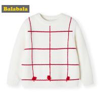 巴拉巴拉女童毛衣套头秋冬新款小童宝宝保暖圆领针织衫韩版厚