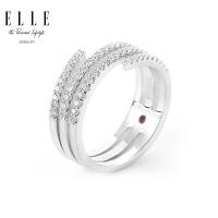 ELLE戒指 错落 925银红宝石镀白金 来自法国新品礼物送女友
