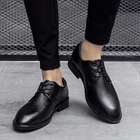 DAZED CONFUSED秋冬新款英伦风商务正装男鞋尖头皮鞋软面皮黑色低帮系带男士内增高
