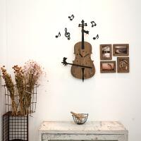 艺术挂钟北欧客厅个性创意时尚钟表个性艺术装饰时钟木质咖啡厅墙壁挂钟可爱卡通小提琴壁钟 浅棕色 赠送相框 14英寸