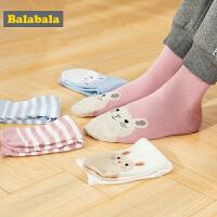 巴拉巴拉儿童袜子秋冬新款女童棉袜中大童时尚印花甜美百搭五双装