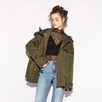 d'zzit地素 18春专柜新款纯色立体堆褶连帽户外棉衣外套3F1H3071Q