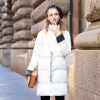 毛菇小象加厚棉衣外套女冬季2019新款中长款时尚刺绣棉袄高领