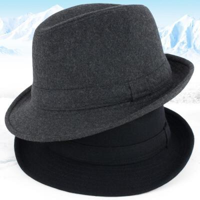 帽子男冬季羊毛呢礼帽加厚秋冬中老年人爸爸爵士帽男冬天老人帽子 深灰色 毛呢  【新款上新,支持七天退换货,欢迎购买】