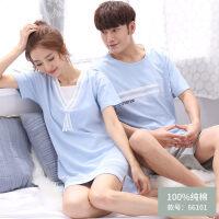 情侣睡衣夏季纯棉短袖睡裙可爱韩版全棉外穿男士女士套装家居服