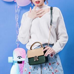 toutou2017新款女包日系原宿风撞色圆环小方包单肩斜挎链条包包潮