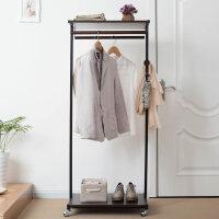 家逸 简约钢木衣帽架落地 玄关卧室挂衣架 带轮可移动多功能衣架