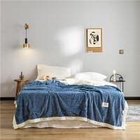 君别韩版小清新毛毯空调双层法兰绒加厚被子毯子午睡毛巾被冬季单双人床单双层菠萝毯