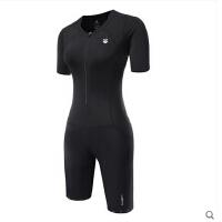 女速干紧身跑步游泳短裤  铁人三项 连体骑行服套装