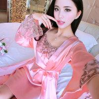 春夏睡衣女夏天丝绸性感两件套长袖韩版冰丝薄款大码吊带睡裙丝质