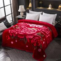 君别婚庆毛毯双面加厚结婚拉舍尔毛毯双人新婚法兰绒水晶绒盖毯床品