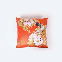 印象唯物 棉麻仿真丝古典靠枕中国风方形沙发枕中式花鸟床枕靠垫