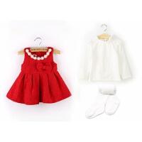 红色宝宝背心裙幼儿童装女童装0-1-2-3岁婴儿连衣裙秋季裙子 +加绒打底衫+裤袜(不开裆)
