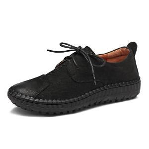 红蜻蜓女鞋2017秋季新品舒适休闲系带圆头单鞋复古擦色平跟鞋子