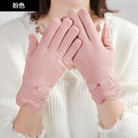 手套女冬季加厚加绒保暖可爱�~皮分指韩版冬天骑车开车毛绒手套