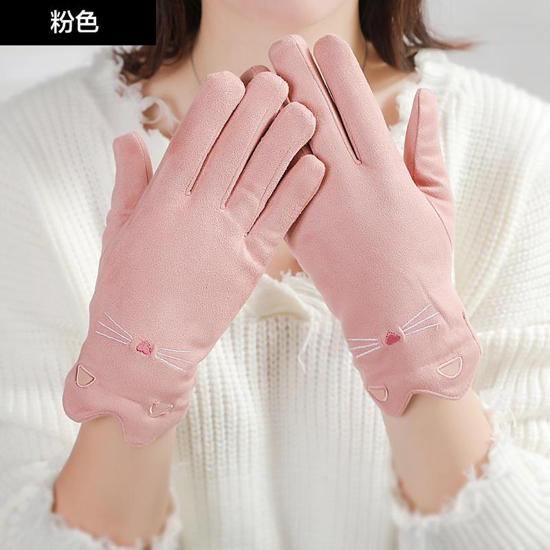 手套女冬季加厚加绒保暖可爱麀皮分指韩版冬天骑车开车毛绒手套 品质保证 售后无忧 支持礼品卡付款