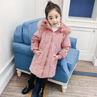 女童棉衣外套装2017新款韩版童装中大童棉袄中长款加厚羽绒 粉红色