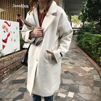自制限量韩版气质西装领毛呢外套2018中长款呢子大衣女 米白色 现货 均码