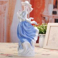 陶瓷工艺品摆设现代家居装饰品人物摆件 西洋女可爱家居摆件