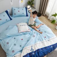 【官方旗舰店】全棉床单四件套1.5m1.8米纯棉被套绣花学生网红卡通家纺床上用品