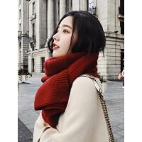 韩版百搭羊绒长款围巾 女士纯色羊毛围巾 新款两用加厚保暖披肩围脖