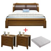 现代简约实木床 1.8米双人主卧软靠婚床 1.5M单人新中式经济型 皮艺床+10CM乳胶棕床垫+2床头柜 颜色备注