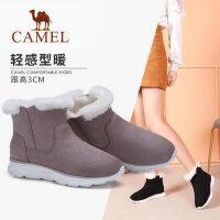 骆驼冬季新款雪地靴女加绒短筒绒面运动底短靴保暖毛毛靴子女