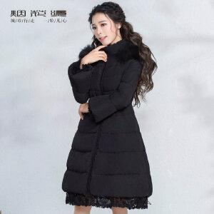 烟花烫2018冬装新款女装气质蕾丝毛领帽子显瘦中长羽绒服 凌竹