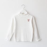 女童毛衣秋款圆领套头中小童羊毛衫女宝宝1-2-4-6岁针织打底衫 80码 衣标4码