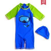 户外新款卡通潜水员儿童连体泳衣宝宝泳装男童游泳装中小童泳衣冲浪服