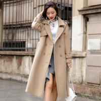 毛呢外套纯色双排扣2017年冬季长袖中长款直筒韩版简约时尚修身气质
