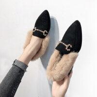 �n版尖�^加�q高跟�涡�粗跟�凸判∑ば�毛毛鞋女冬外穿新款百搭