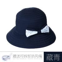 儿童帽子夏天时尚潮女童太阳帽防晒帽可折叠渔夫帽凉帽防紫外线遮阳帽
