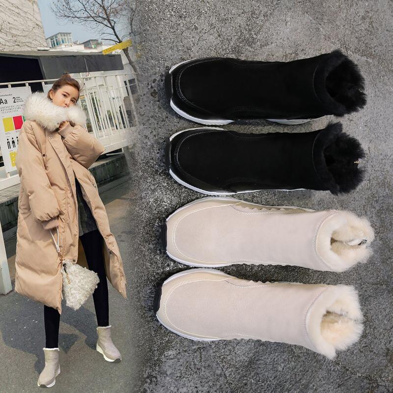 皮毛一体雪地靴女短靴冬季2018新款马丁靴韩版学生百搭加绒棉鞋子   【新款上新,支持七天退换货,欢迎购买】