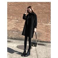 2018秋冬新款韩版女装时尚气质宽松中长款呢子大衣茧型毛呢外套女