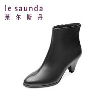 莱尔斯丹 秋冬专柜款尖头短筒高跟粗跟女靴8T65410