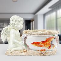 欧式家居饰品结婚礼物 天使鱼缸客厅电视柜工艺品桌面摆件