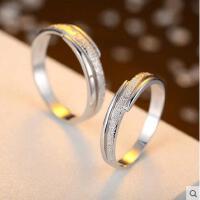 戒指 首饰 配饰 简约磨砂925银戒指情侣对戒情侣一对男女指环银饰品免费刻字