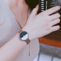 撞色女士手表日本女款创意钢带超薄防水女式礼物链条表