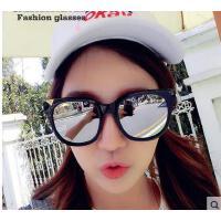 复古彩膜反光太阳镜潮 个性透明框金属腿潮流户外墨镜 休闲旅游眼镜