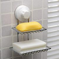 双庆 创意时尚双层吸盘不锈钢肥皂架 浴室壁挂肥皂盒香皂盒 吸盘肥皂架SQ7489