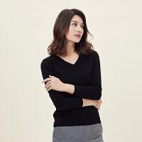 秋冬新款女装V领纯山羊绒衫修身显瘦纯色保暖针织打底套头毛衣