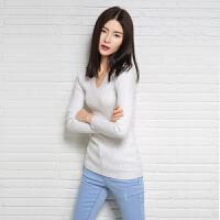 春季新款女士V领纯山羊绒衫修身短款显瘦针织套头毛衣打底衫