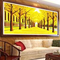 纯手工十字绣成品黄金满地风景黄金大道全景2米大幅客厅画绣好的