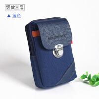 男士手机腰包帆布穿皮带多功能迷你横竖款休闲耐磨5.5寸老人钱包