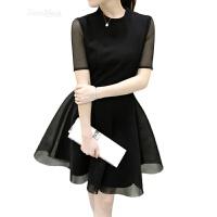 胖妹妹春装2018新款韩版潮大码女装裙子胖mm蕾丝显瘦夏装连衣裙女 黑色 HC2196