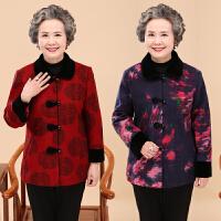 中老年人外套女秋装立领唐装春秋奶奶装60-70-80岁毛呢外套妈妈装