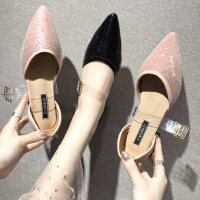户外鞋子女时尚韩版百搭仙女晚晚鞋尖头浅口平底透明单鞋
