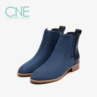 CNE2019秋冬款圆头低跟套脚舒适帆布拼皮切尔西靴女短靴9T28801